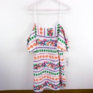 NWT La Blanca Eden Embroidered Cold Shoulder Dress